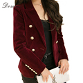 2017 New Spring Velvet Jacket Coat Women's Clothing OL Style Double Breasted Black/Red Basic Jackets Coat Female Plus Size Brand