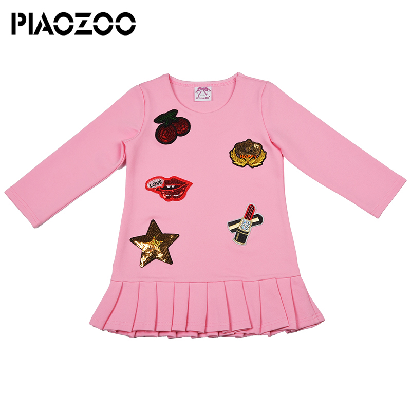 Manica lunga autunno inverno delle ragazze abiti 2018 uniforme scolastica delle ragazze dei capretti del bambino vestiti della ragazza di inverno Floreale di Modo di applique P25