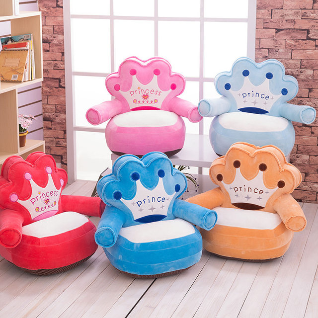 Only Cover No Filling Baby Bean Bag Cartoon Crown Bear Baby Chair Toddler  Nest Puff Seat Skin Upscale Children Seat Sofa Cover
