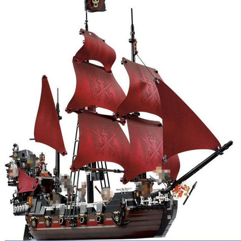 1151 Pcs New lepin 16009 Queen Anne's revenge Pirates of the Caribbean Building Blocks Set Compatible with lepin 16009 caribbean blackbeard queen anne s revenge mini bricks set sale pirates of the building blocks toys for kids gift