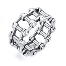 1 Pcs Fashion Punk New European Retro Bicycle Chain Ring Vintage Alloy Silver Color Cool Ring For Women Men Jewelry R192-T2-10(China)