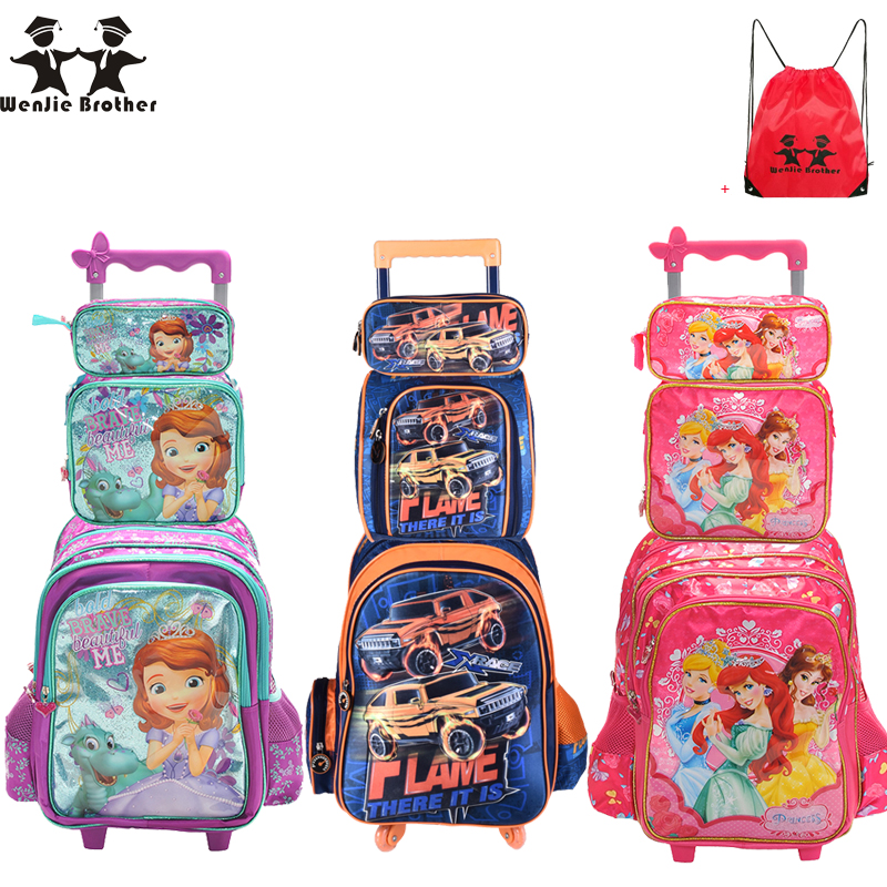 wenjie brother Children Mochilas Kids school bags With Wheel Trolley Luggage For boys Girls backpack Mochila Infantil Bolsas