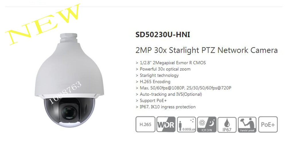 Free Shipping DAHUA Security IP Camera CCTV 2MP 30x Starlight PTZ Network Camera IP67 IK10 Without