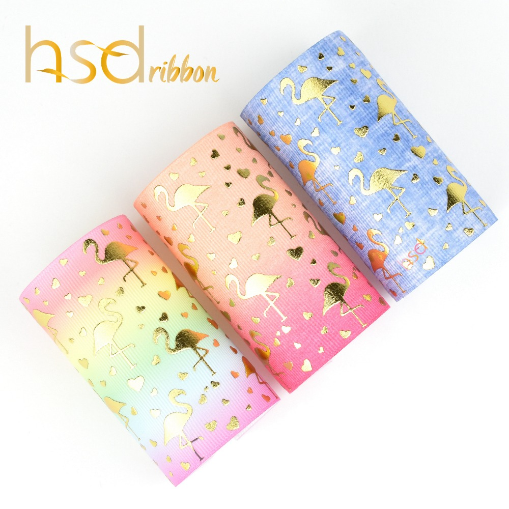 HSDRibbon 75mm 3inch gold foil custom printed flamingo grosgrain ribbon