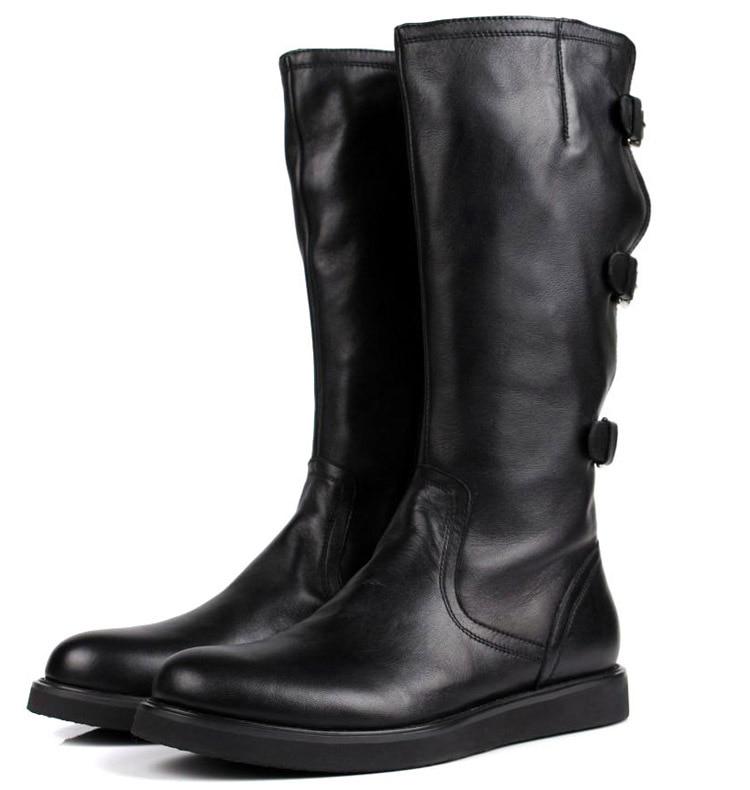 Большой Размеры EUR45 модные черные сапоги до колен Высокие Мужские ботинки мотоботы Зимняя обувь из натуральной кожи с пряжкой