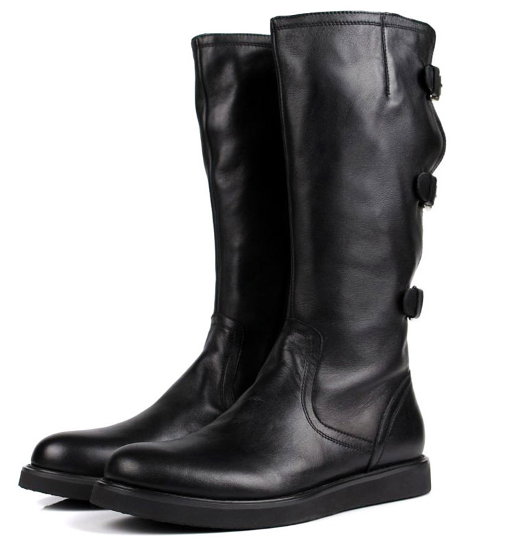 Ukuran besar EUR45 mode lutut tinggi hitam mens sepatu bot Sepeda Motor kulit asli mens sepatu bot musim dingin dengan gesper