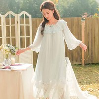Spring Summer Woman Princess Nightgown Lace Sleeve Lace Sleepwear Dress Three Quarter Mesh Patchwork Nightdress