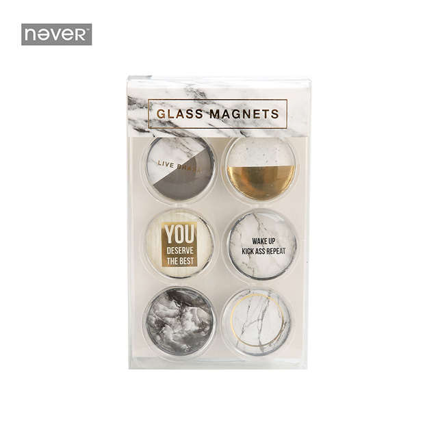 Never Marble Series Fridge Magnets Whiteboard Sticker Gl Buckle Stickers Gift Office Home Decorative Accessories