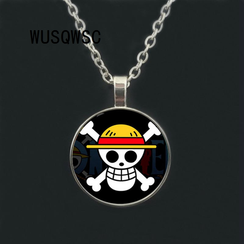 One Piece Rudder Skull Pitates Logo Choker Necklace Pendant Anime Cosplay Gift
