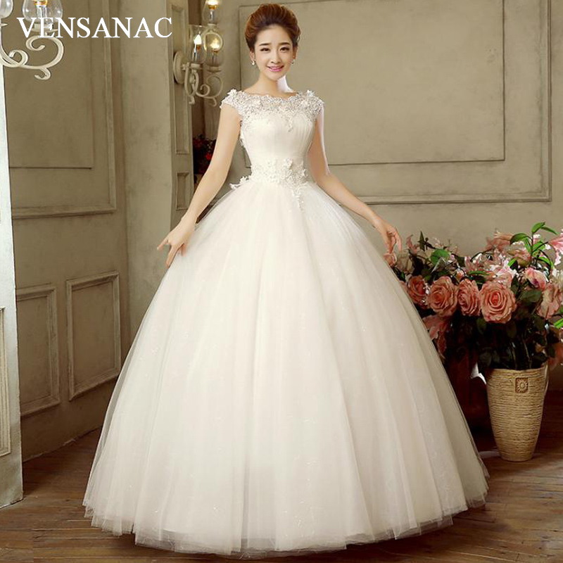 Cap Sleeve Bridal Gowns: VENSANAC 2018 Boat Neck Lace Flowers Appliques Ball Gown