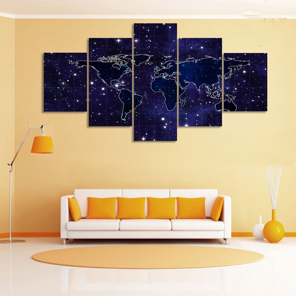 Animation Wall Art The Galaxy World Map Print Canvas Split Paintings ...