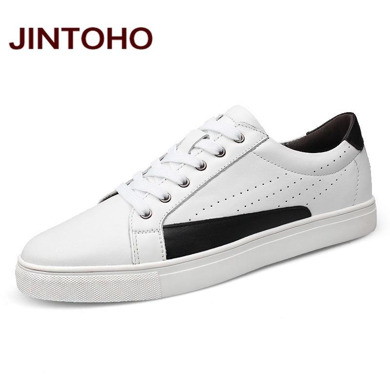 JINTOHO Big Size Casual Leather Men Shose Men Genuine Leather Shoes Breathable Leather Male Shoes Luxury Brand Men Flats Shoes