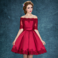 2017 Wine Red Lace Embroidery Luxury Satin Half Sleeved short Evening Dress Elegant Banquet Prom Dress Robe De Soiree