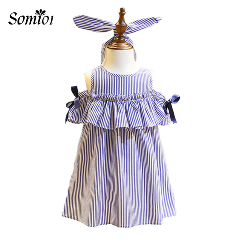 Summer Girls Dress Blue Stripe Off-Shoulder Ruffles Dresses +Headband Korean Style Princess Dress For Girls For 2 3 4 6 8 Years