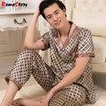 Мужские Наборы шелк пижамы шелковые пижамы Костюм с коротким рукавом мужская весна мужчины тонкий Lager размер Домашней Одежды костюм костюм Loungewear Z2376