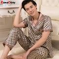 Los hombres de seda pijamas pijamas de seda Traje de primavera de los hombres de los hombres de manga corta delgado tamaño Lager Homewear chándal traje Loungewear Z2376