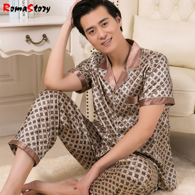 Men's silk pajamas Sets silk pyjamas Suit short sleeve men's spring men thin Lager size Homewear tracksuit suit Loungewear Z2376