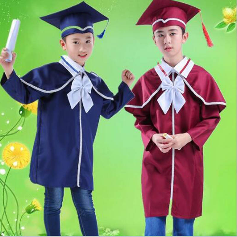 Children Students Performance Costumes Academic Bachelor Gown Kindergarten Kids Dr Clothes Graduated Bachelor Suits Dr cap