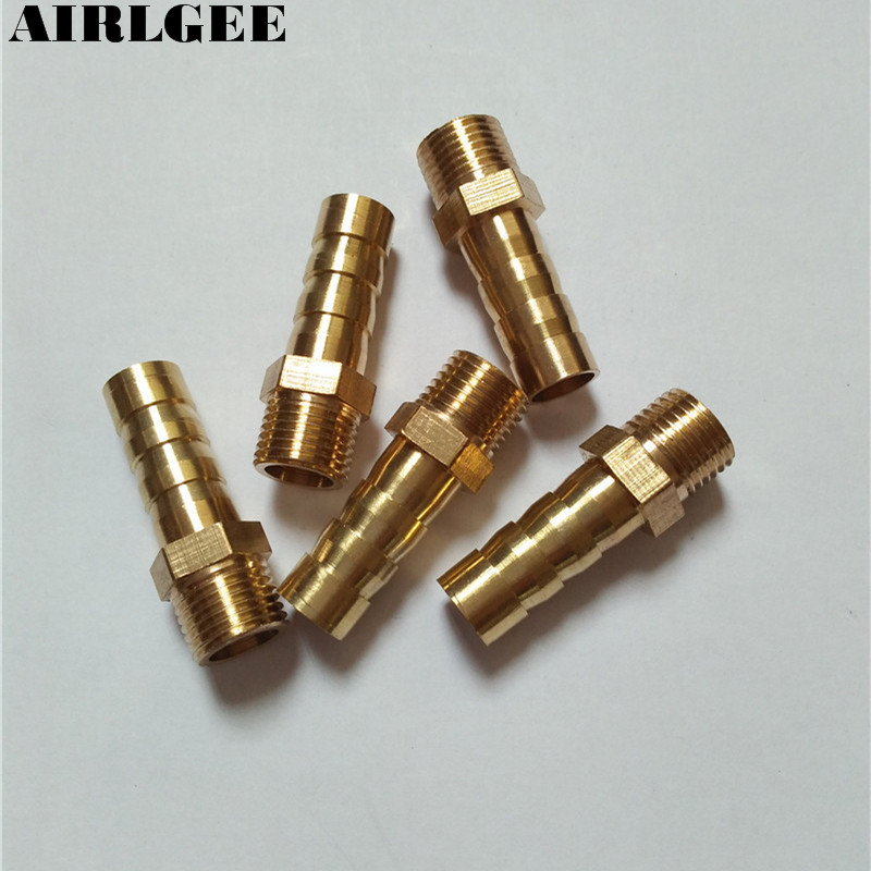 5Pcs Brass Fitting 8mm Water Air Hose Barb to 1/8 PT Male Thread Coupler Adapter Free shipping pt coupling bfh series aluminum cam and groove hose fitting coupler with buna n cam gasket brass hb cam arms coupler x female fire hose nh