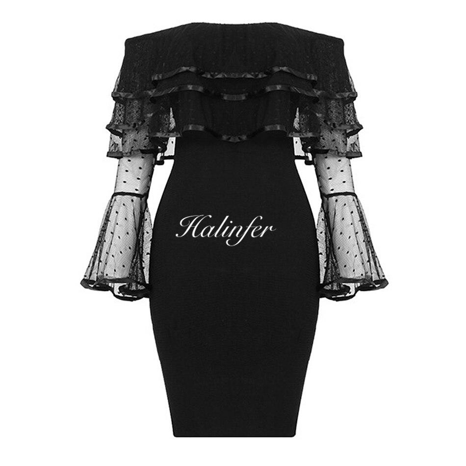 Sexy Noires Robe Cou Halinfer Dentelle 2018 Celebrity Summer Robes Femmes New Bandage Noir Slash Party Moulante Élégante nfRXqB