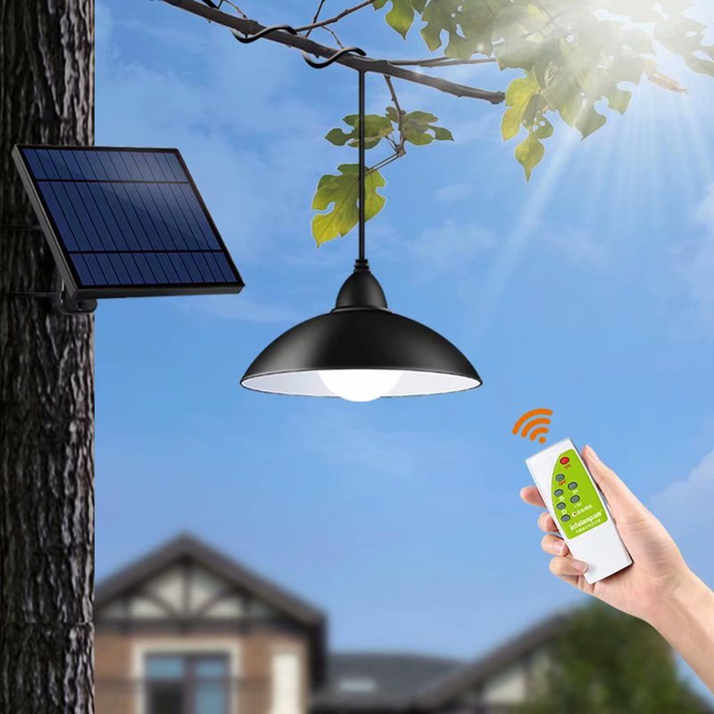 Chandelier Solar Light With Remote Control Retro Lampshade Solar LED Bulb 3Meter Cord Hanging Light for Outdoor Garden Yard Lamp
