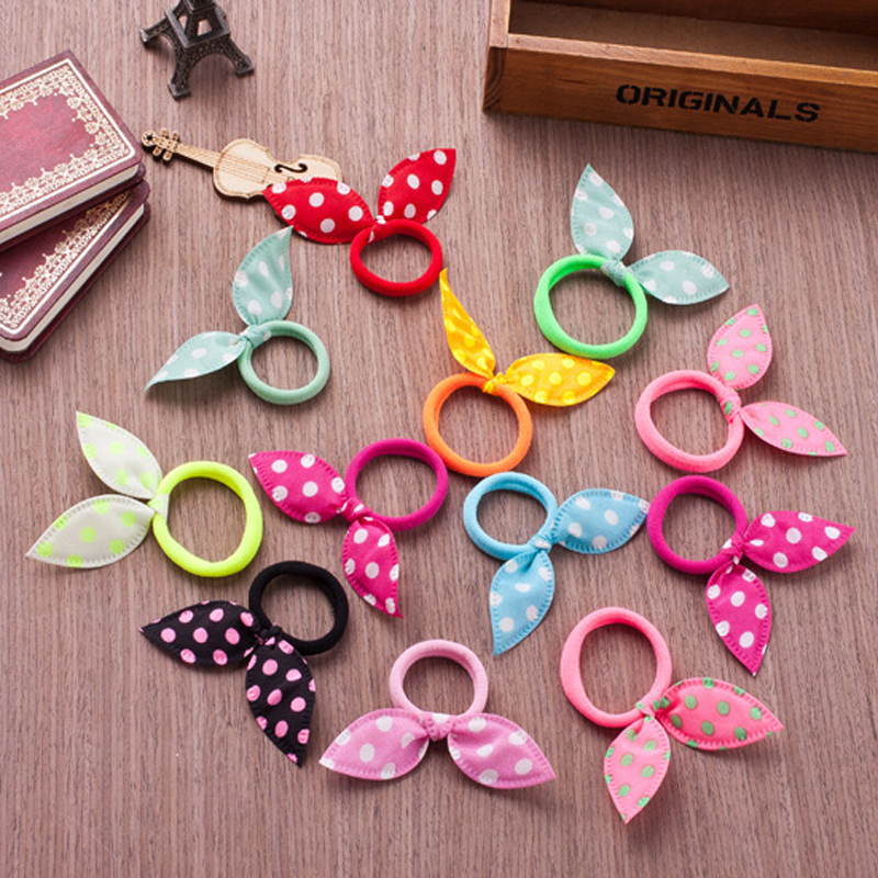 10pcs Fashion Girls Hair Band Polka Dot Bow Rabbit Ears Elastic Hair Rubber Ponytail Holder Hair Accessories For Women Headband