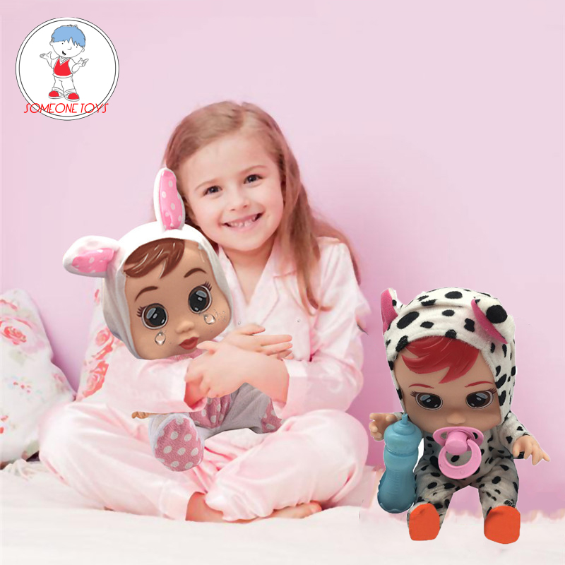 Cry Baby Doll Silicone Reborn Dolls Crying Magic Tears Lovely Girl Dolls Children Birthday Gift   Educational Toys For Kids