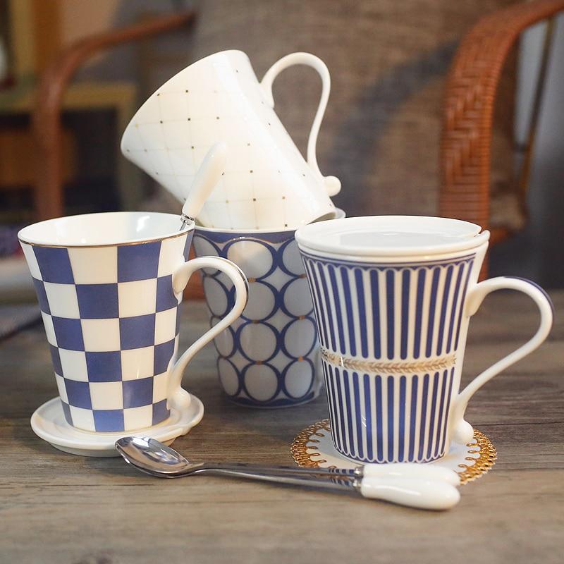 4 pezzi di porcellana tazze di caffè set di tazze da tè e tazze con coperchio cucchiaio di office home office mark bicchieri 33-in Tazze da Casa e giardino su  Gruppo 2