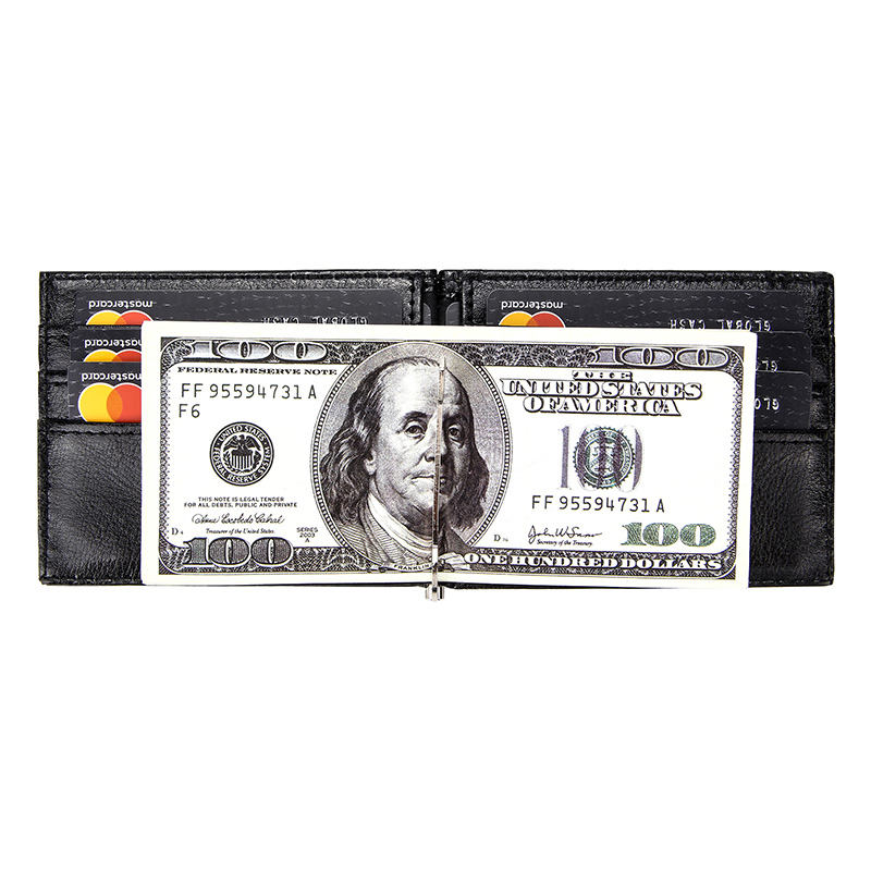 Business Slim Money Clip Bifold Short Wallets for Men Multi Card Slots Pu Leather Luxury Protect Cards Case Wallet Metal Clips