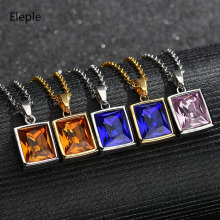 Eleple Classic Stainless Steel Square Zircon Necklaces Female Colorful Geometry Fashion Pendant Necklace Party Jewelry S-N835