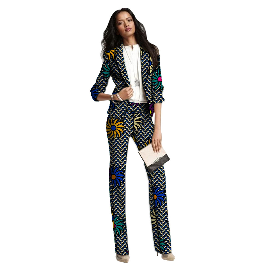 African Clothing Women Print Suits Blazers With Trousers Ankara Fashion Pant Suits Customized Wedding Female Formal Outfits