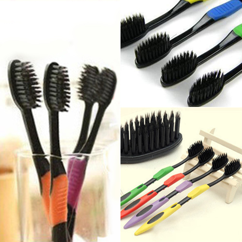 4Pcs Bamboo Charcoal Nano Brush Home Oral Care Double Ultra Soft Toothbrushes Dental Health Chic Design 5GOE