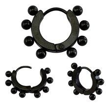 Высокое качество мода серьги клип с черной стали шар для подарка пирсинг украшения для принятия поставки