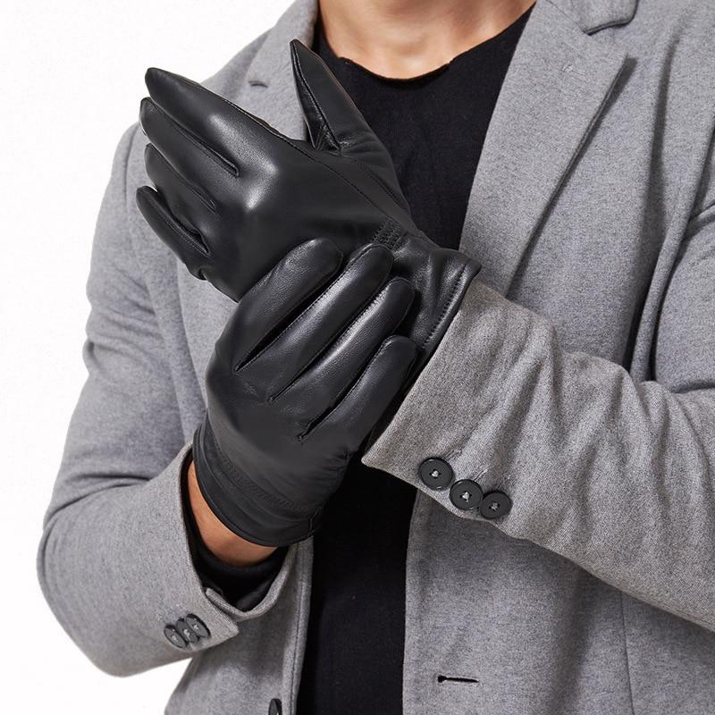 dress fashion gloves Real Sheepskin Leather gloves for Men warming winter