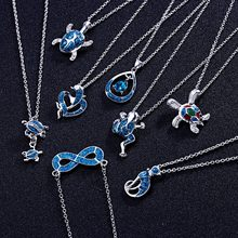 Rinhoo Colorful Frog/Cat/Tortoise/Dolphin Animal Pendant Necklace For Women's Fashion Exquisite Jewelry Gift(China)