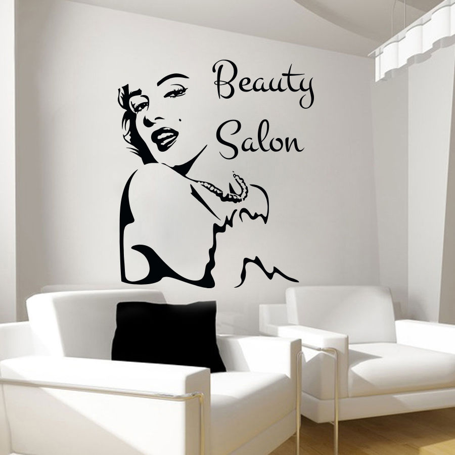 Hwhd 2016 new beauty salon wall stickers girl face decal for Stickers de pared