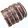 FL17-free shipping (5pcs/lot) latest dark brown handmade tribal ethnic genuine braided leather bracelet for unisex