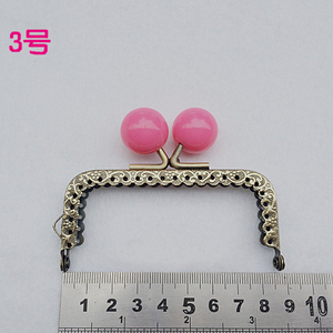 Image 3 - 8.5cm colorful candy ball kiss buckle mini straight knurling purse frame coin bag making metal clasp hardware 10pcs/lot