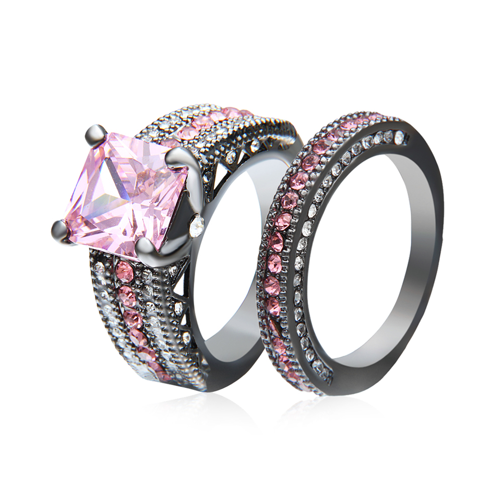 RN2995 Turkish Engagement Wedding Couple Rings with Pink ...