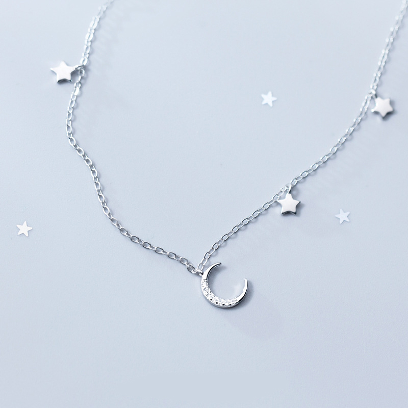 DXJEL 100% 925 Sterling Silver Jewelry Moon Stars Charm Pendant Necklace Fashion Boho Jewelry Choker Necklaces for Women