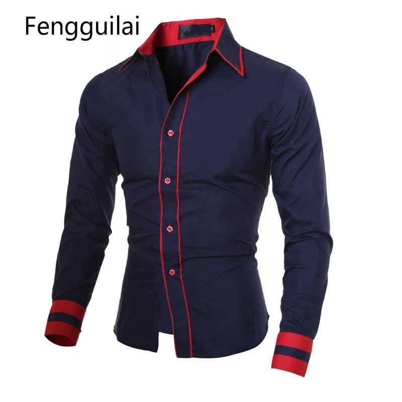 Для мужчин 2018 модный бренд Для мужчин манжеты полосатый рубашку с длинными рукавами мужской Camisa Masculina Повседневное тонкий сорочка Homme xxl Cnskd