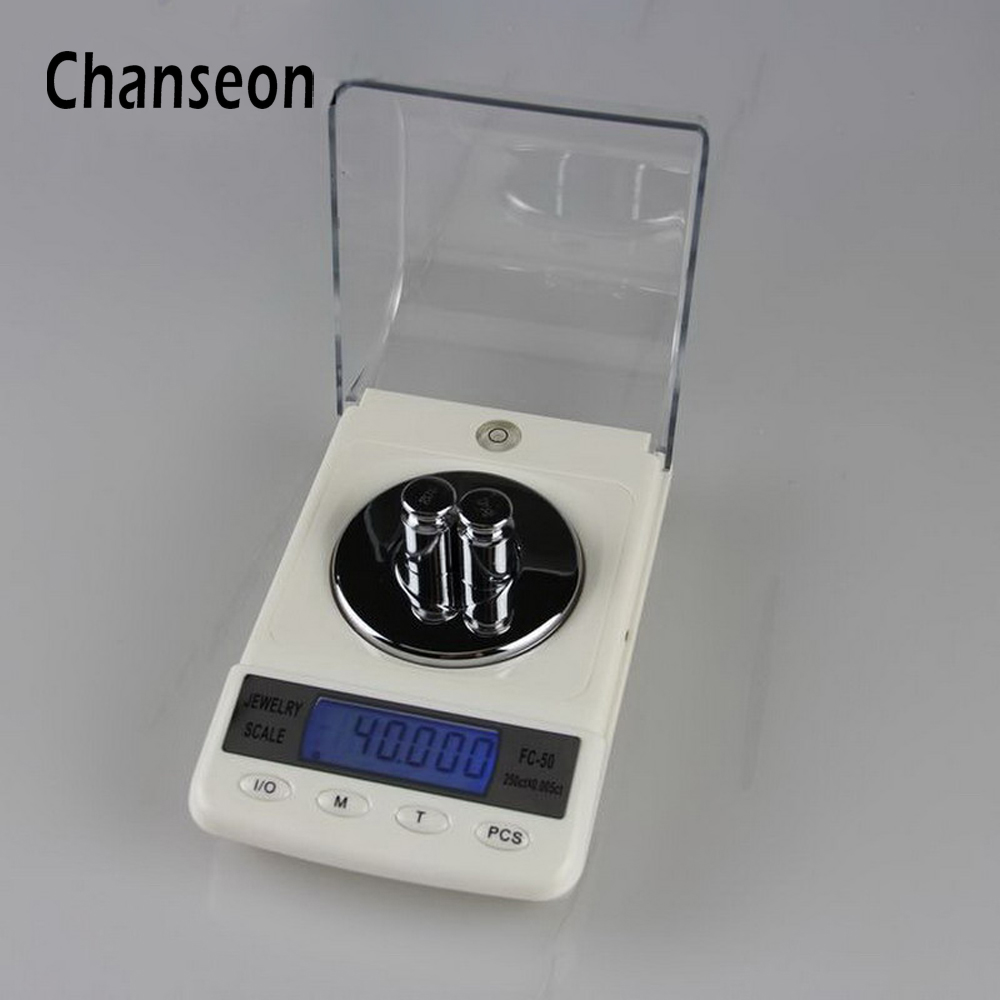 Chanseon 50g x 0.001g Precision Laboratory Balance Scale for Gold Bijoux Diamond Scale Jewelry Stainless Steel Digital Scales mini precision digital scales for gold bijoux sterling silver scale jewelry 200g 0 01g balance weight electronic scales