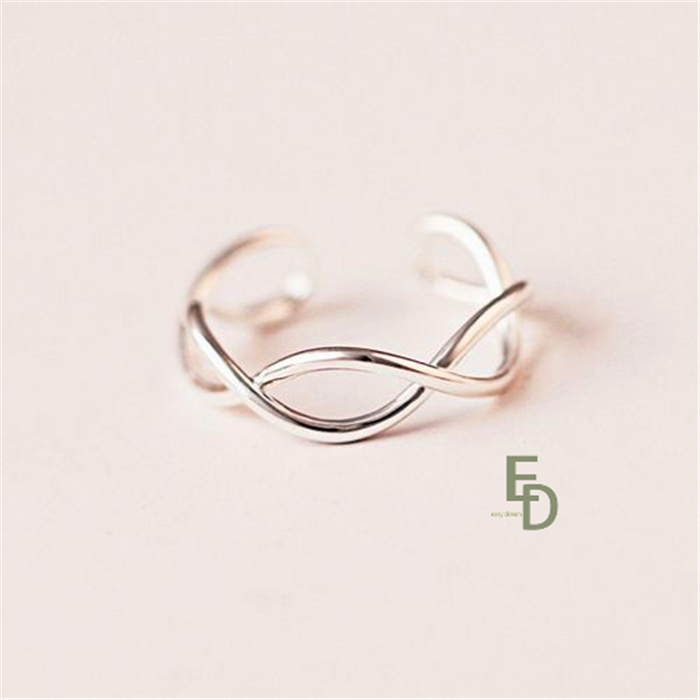 2015 new925 sterling silver ring twisted two lines design