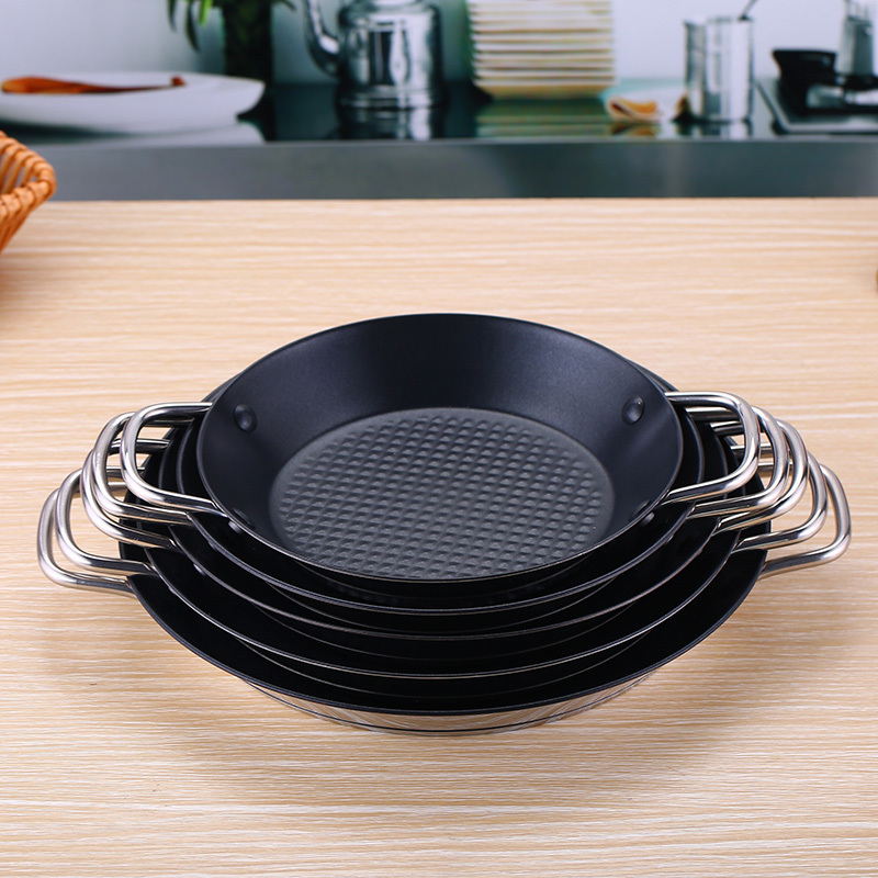 Stainless steel frying pan Spanish seafood rice pie steak pot lobster non stick stew risotto omelet pan crepe jam cookware