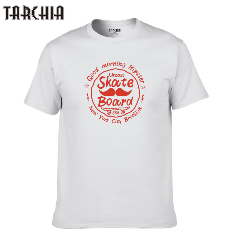 TARCHIA 2019 fshion Tees Tops Casual T Shirt Men new Cotton skateboarding Slim Fit T shirt Homme sleeve Top Spring Print Men