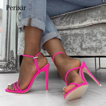 Perixir 2019 Summer New Ankle Strap Cross-tied Women Sandals 11.5cm High Heels Sexy grain Lace-Up Quality Shoes