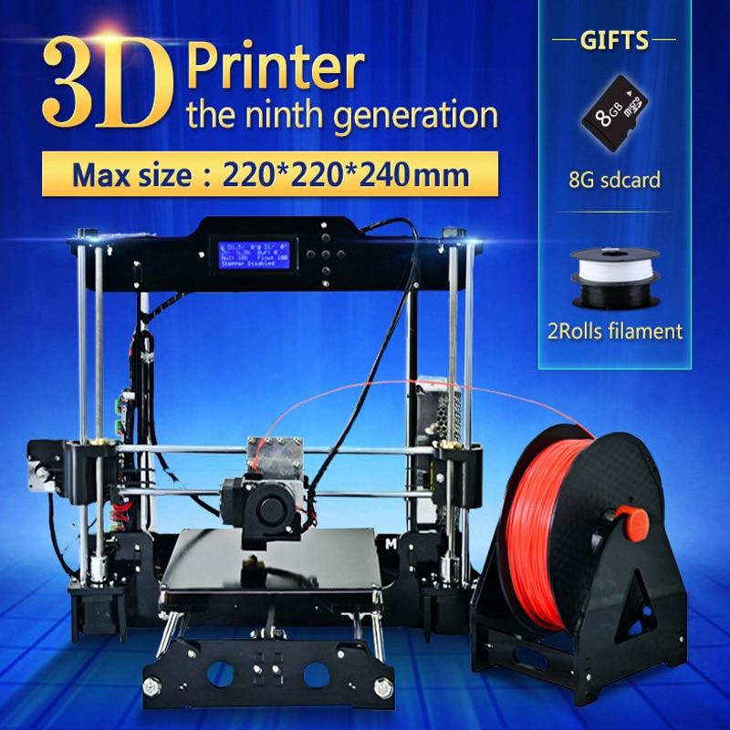 Большие размеры 220*220*240 мм высокое качество точность 3d принтер DIY Kit с PLA нити 8 ГБ SD карты и ЖК-дисплей бесплатно