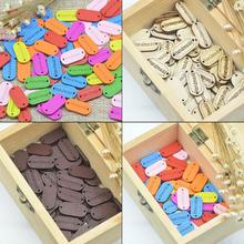 KALASO 50pcs Handmade Label Tags Sewing Wood Buttons Garment Embossing DIY Craft Supplies Wholesale Home Knitting Decoration