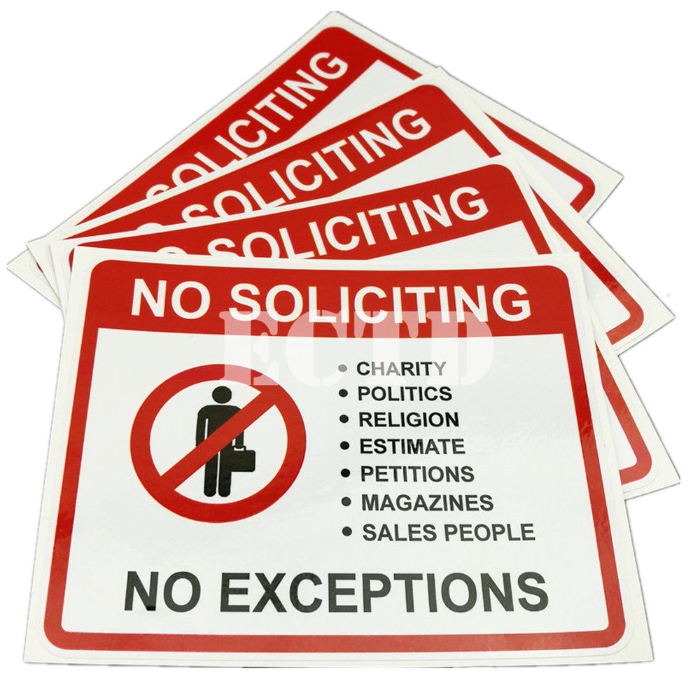 4 No Soliciting Solicitors sales trespassers sign signs decal sticker 125x102mm signs