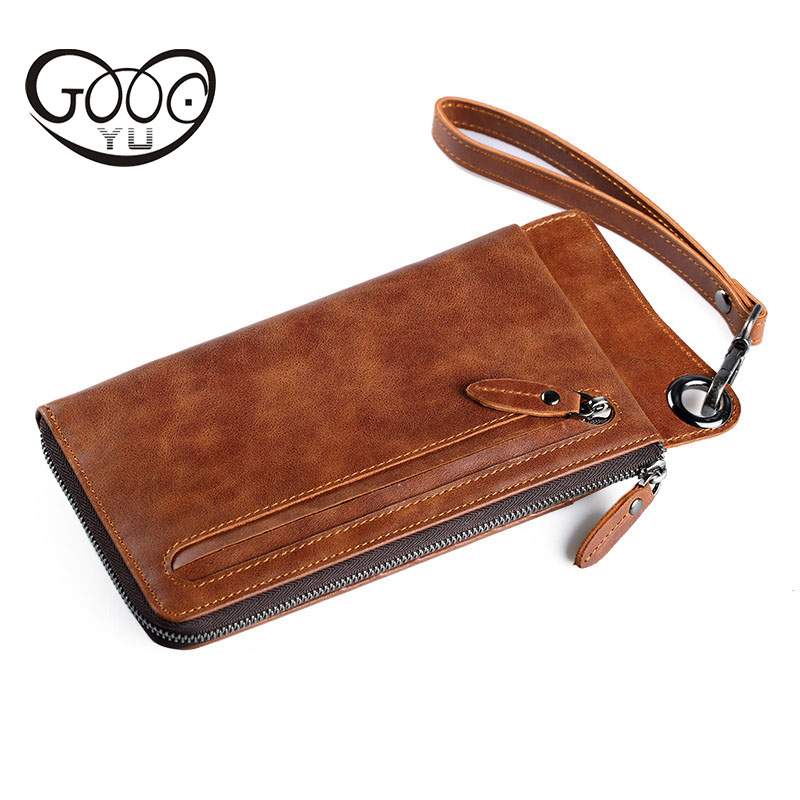 Hot-fashioned retro leather men's wallet cross-style square-type multi-card hand holding the first layer of leather handbag bag holding the line